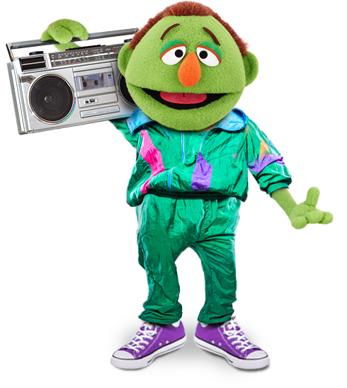 Lenny, a green puppet, wearing bright green 80's clothes and holding a boom box
